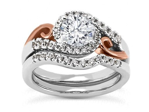 Swirl Halo Diamond Bridal Set in 14k White Goldand 14k Rose Gold