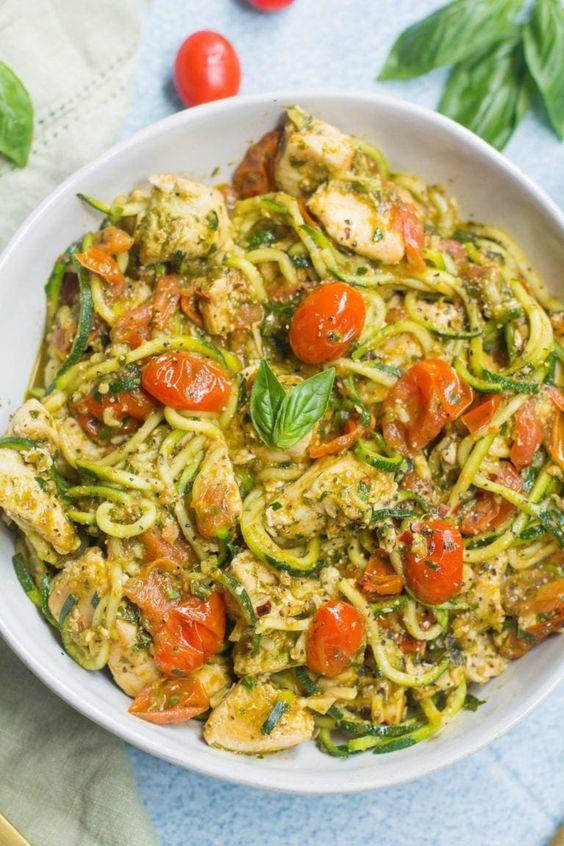 Whole30 Pesto Chicken Zucchini Noodles