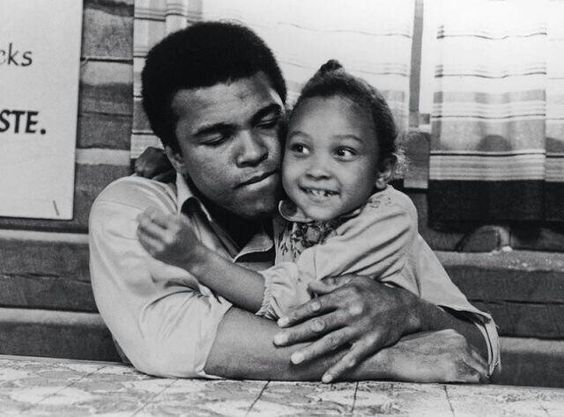 Muhammed Ali with his daughter Maryum, in 1974.:
