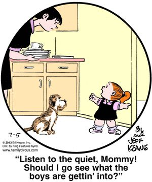 Family Circus for 7/5/2013 - listen to the quiet, mommy ...