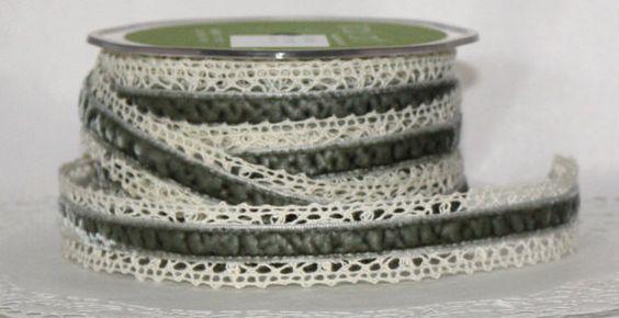 """Gray Crochet Velvet Ribbon by the yard - 1"""" wide"""