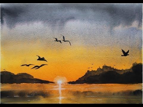 Ellathefay Watercolor Tutorial Sunset Youtube Aquarell