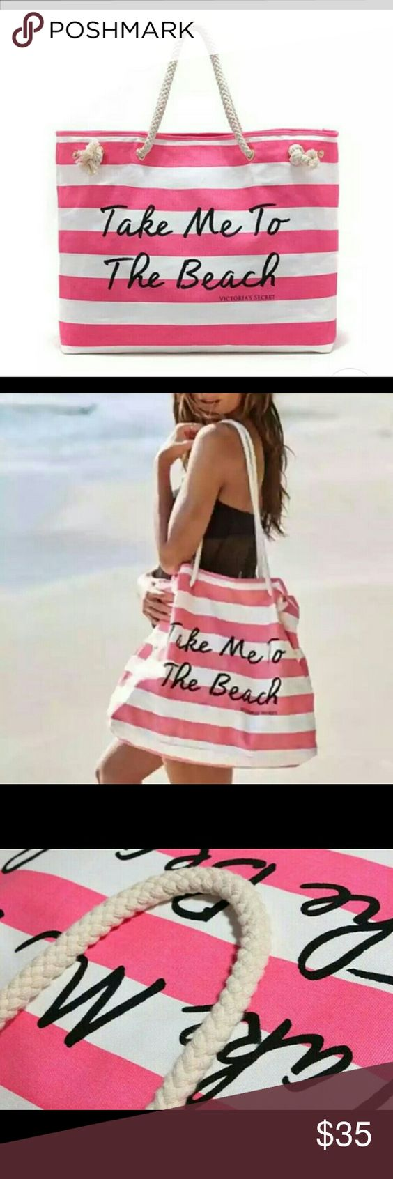 """⚡FLASH SALE⚡ Beach Bag ONLY 1 HOUR New. Pink and White Stripes... """"Take Me to the Beach"""" bag.  FINAL PRICE available until we go to USPS tomorrow  Victoria's Secret Bags"""