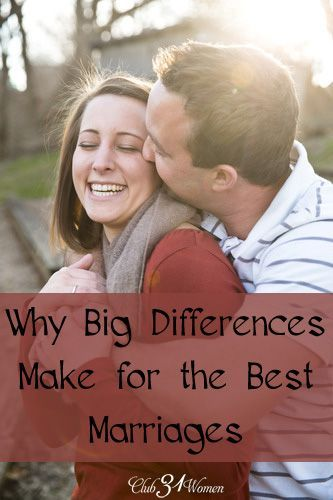 Do you find that you and your husband are different? I mean - really, really different? Well, here are some great ways to turn those differences into one of the best marriages ever! Why Big Differences Make for the Best Marriages ~ Club31Women