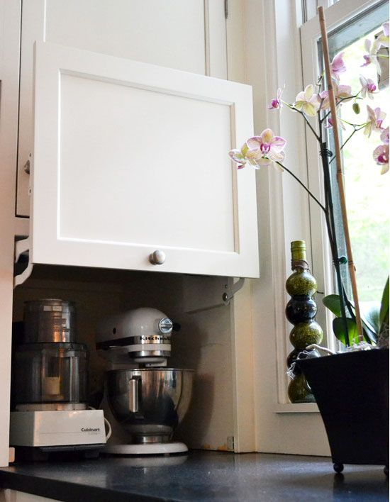 love this for the corner to hide the toaster and kitchen centre.  Small Kitchen Layout Ideas — Eat Well 101: