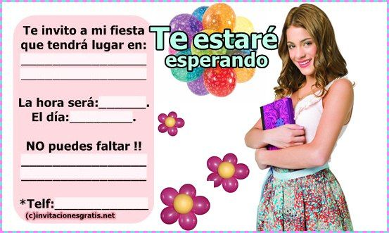 invitaciones de cumpleaños de Violetta « Invitaciones gratis