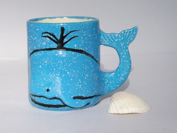 MORNINGS BLOW!! One - of - a - Kind Whale Mug Handmade Ceramic from my Charleston, SC Studio - pinned by pin4etsy.com