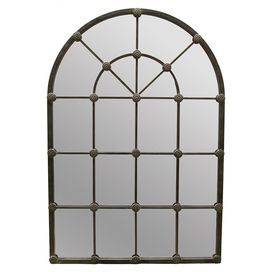 """Iron and wood wall mirror in silver and pewter with a medieval-inspired arched design.   Product: Wall mirrorConstruction Material: Iron, wood and mirrored glassColor: Silver and pewterFeatures: Twenty panels of mirror are expertly integrated  into the medieval inspired arch shapeDimensions: 53"""" H x 36"""" W x 1.5"""" D"""