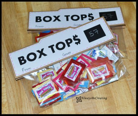 Box Tops for Education....Place to write the total is a great idea.  Also on back we should have name or at least Grade/teacher