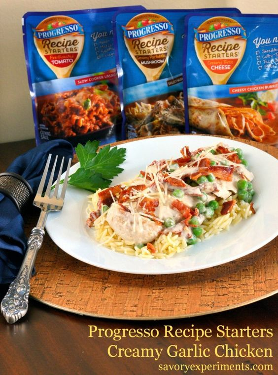 #Progresso Recipe Starters Creamy Roasted Garlic Chicken with Sun Dried Tomatoes, Peas and Bacon - Savory Experiments #recipestarters #savoryexperiments