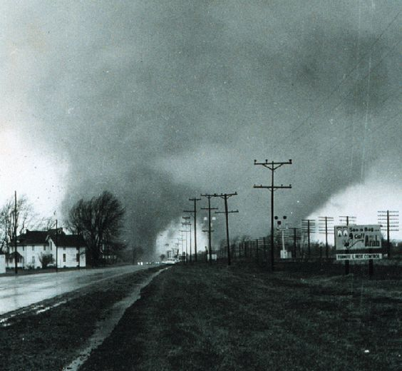 The 1965 Palm Sunday tornado outbreak was a turning point for the National Weather Service. A massive double-funnel tornado near Dunlap, Indiana, between Goshen and Elkhart, tore up everything in its path. Photo courtesy of Paul Huffman of the Elkhart Truth.