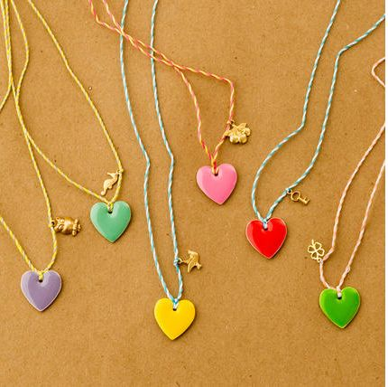 Candy Stripe Heart Necklaces