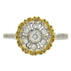 Buccellati Diamond Two Color Gold Flower Motif Ring