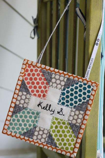 Super cute idea for a name tag! I really love this. reblogged from ... : quilting name tags - Adamdwight.com