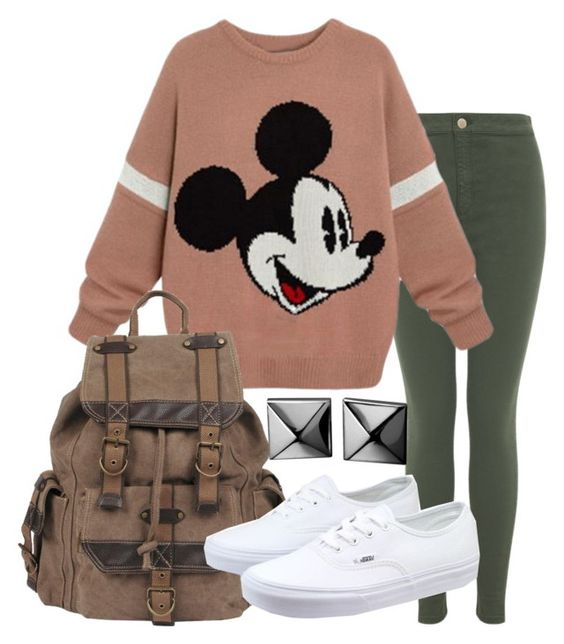 """Classic Mickey"" by forever-inspired ❤ liked on Polyvore featuring Miss Selfridge, Wilsons Leather, Vans and Waterford"