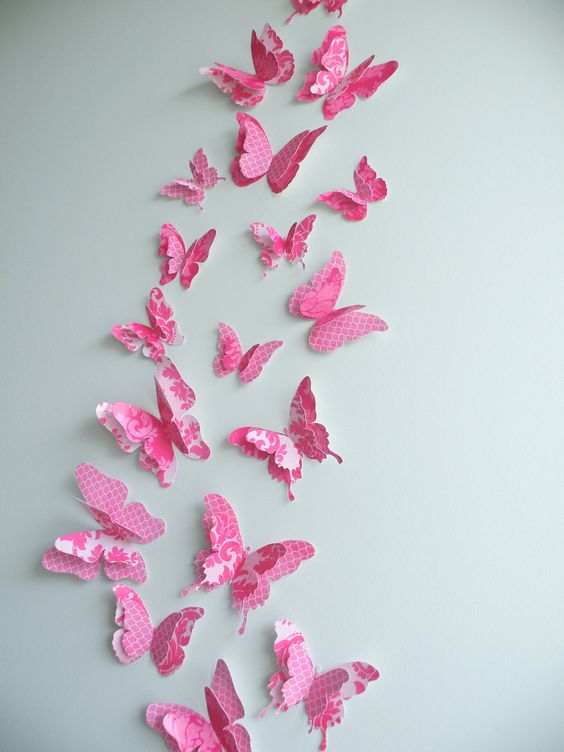 "3D Butterfly wall art to decorate Nursery, Children's Room, Bedroom or any other room - ""FancyPants"" Set. $22.50, via Etsy."
