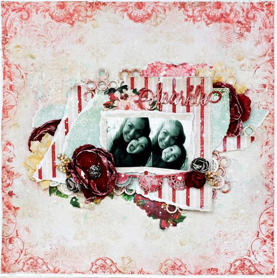"""Feminine, Mother-Daughter Mixed-Media Layout: """"Sparkle"""""""
