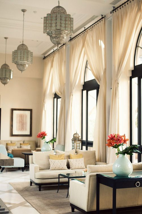: Interior Design, Black Window, Living Rooms, Moroccan Style, High Ceilings, Windows Drapes, Window Treatments, Sitting Room, Light Fixture