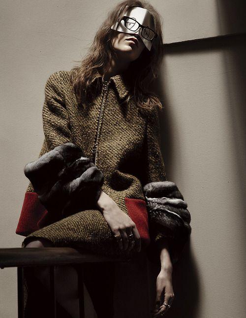 Meghan Collison wears Prada in 'Portrait Of An Artist' by Mark Segal for Vogue Japan, January 2014.