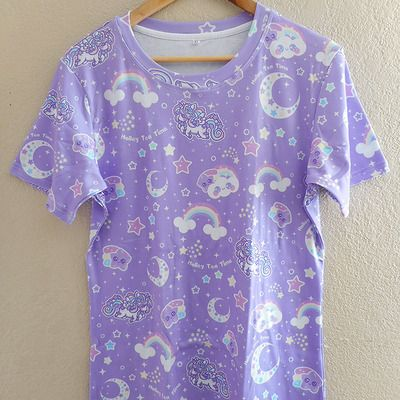 ☆ rainbow stardust ☆ all over print t-shirt made to order ✧ fairy kei ✧ decora kei