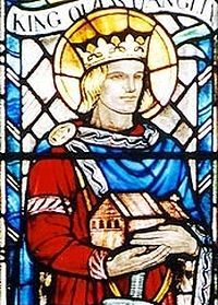 A stained glass of St. Ethelbert the Martyr of East Anglia