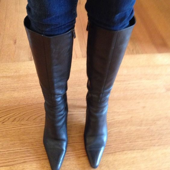 "Coach ""Marin""  Leather Boots NO TRADES Black leather (super soft) Coach knee high boots. Leather on heel is a little scratched, but just from normal wear and tear. Boot itself is in excellent condition and you can't even notice the heel when wearing. Full zipper on side. Coach Shoes"