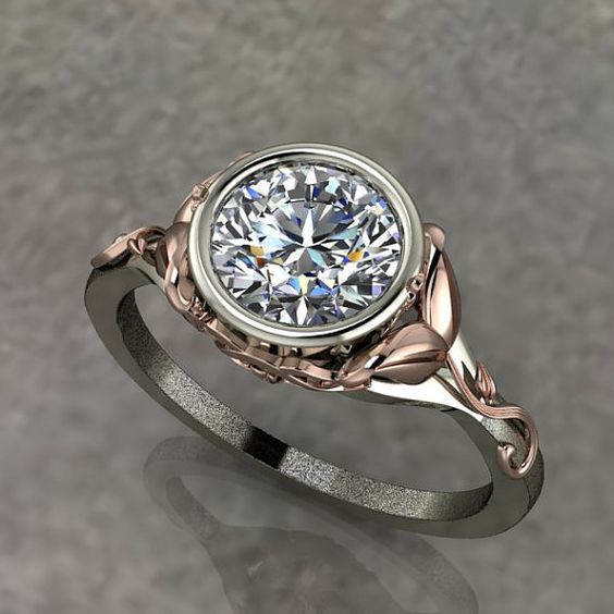 Two Tone Engagement Ring with Rose Gold Floral Design