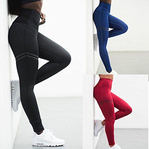 Damen Stretch Yoga Hose Leggings Jogginghose Laufhosen Fitness Sport Leggins Neu