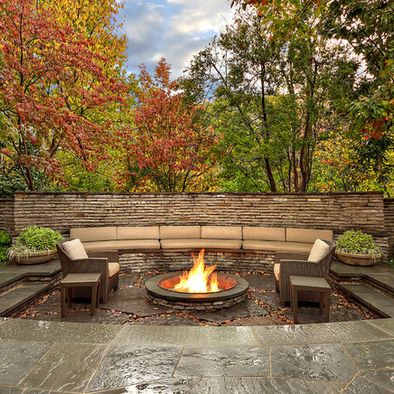 Sunken outdoor patio with fire pit and bench seating for Sunken outdoor seating