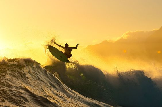 Golden Tahiti afternoons make for great photos and great surf