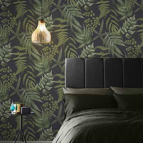 Resplendence Navy Wallpaper Grahambrownuk Fern Wallpaper Black Wallpaper Home Wallpaper
