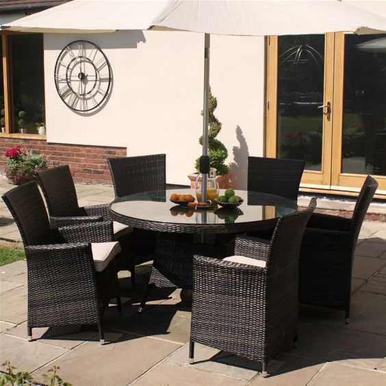 Palermo 6 Seater Rattan Effect Garden Furniture Set dinning set - outdoor mobel set tribu