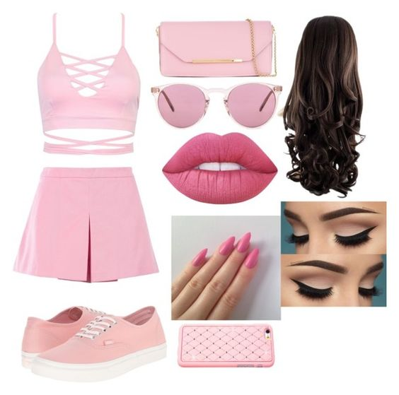 """""""pink bubble gum outfit"""" by samanthapion ❤ liked on Polyvore featuring Love Moschino, Vans, Salvatore Ferragamo, Oliver Peoples and Lime Crime"""
