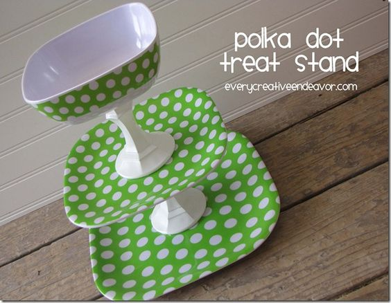 A fun and bright polka dot treat stand! Perfect for treats or snacks with dips!