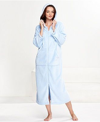 Charter Club Robe, Supersoft Long Hooded Zip Up Robe - Womens ...