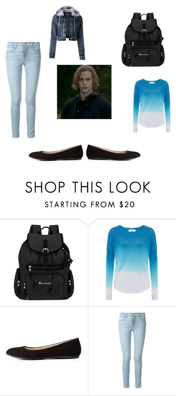 """jasper"" by hannaczerny ❤ liked on Polyvore featuring Sherpani, Velvet by Graham & Spencer, Charlotte Russe, Frame Denim, LE3NO and twilight"