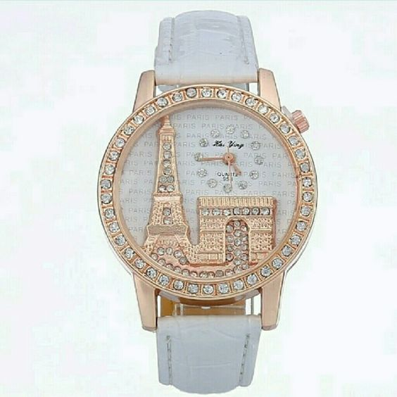 "Romance Is Paris Watch 3D With faux crock embossed leather. 3D with smaller dial that does have the second hand. Beautiful. Have them in Red and White. Let me know what color you prefer. 8.5"" Fashion Accessories Watches"