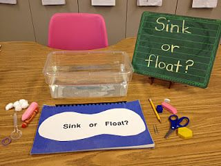 Sink or float? Kindergarten science experiment Physical Science Standard 1a and focus on water as a liquid