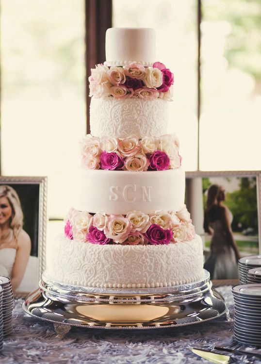 Wedding cake - tiered with flowers  beautiful http://www.pinterest.com/JessicaMpins/