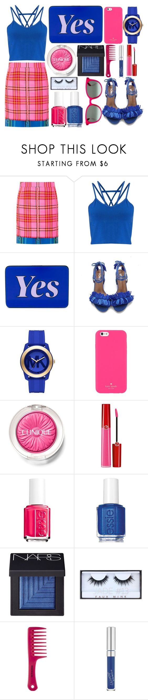 """Yes"" by juliehalloran ❤ liked on Polyvore featuring House of Holland, Miss Selfridge, Yazbukey, Michael Kors, Kate Spade, Clinique, Giorgio Armani, Essie, NARS Cosmetics and Huda Beauty"
