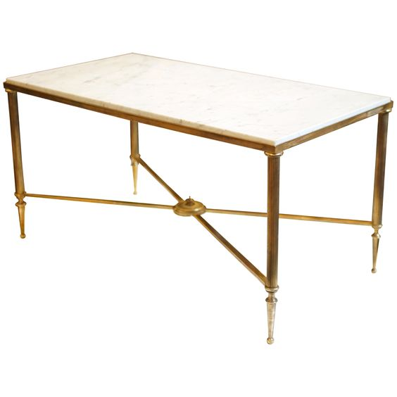 classic brass coffee table frame design with white marble top
