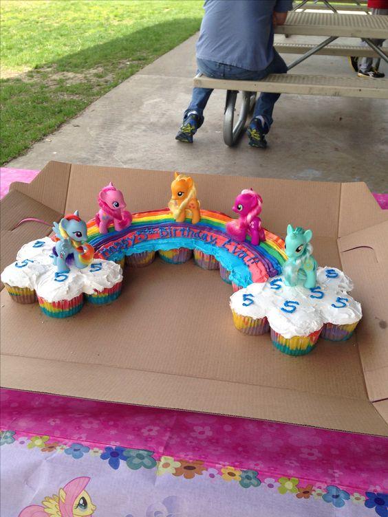 Eva's rainbow cupcake cake. My little pony