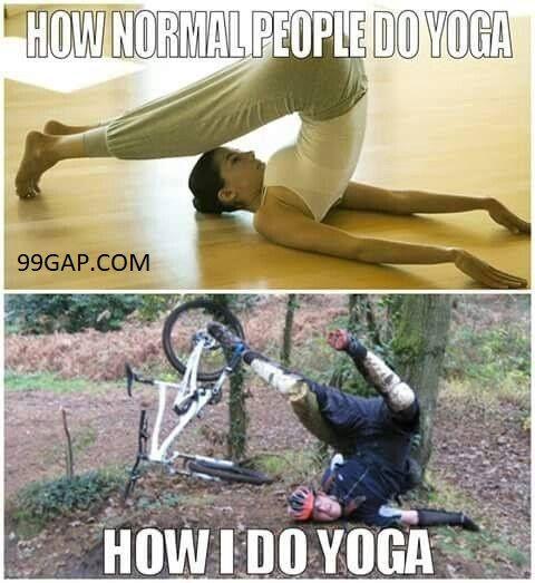 Funny Pictures Of Yoga Vs Vodka Bike Humor Mountain Biking