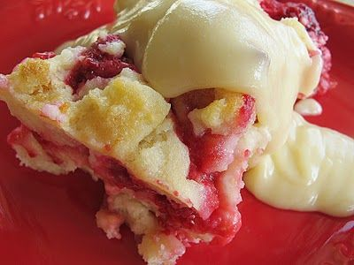 Kneaders Raspberry Bread Pudding and Vanilla Sauce
