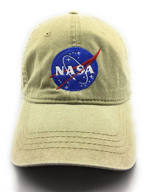 Nasa Meatball Logo Embroidered Washed Space Dad Cap Khaki Cb1856utitd Hats For Men Logo Embroidered Dad Caps