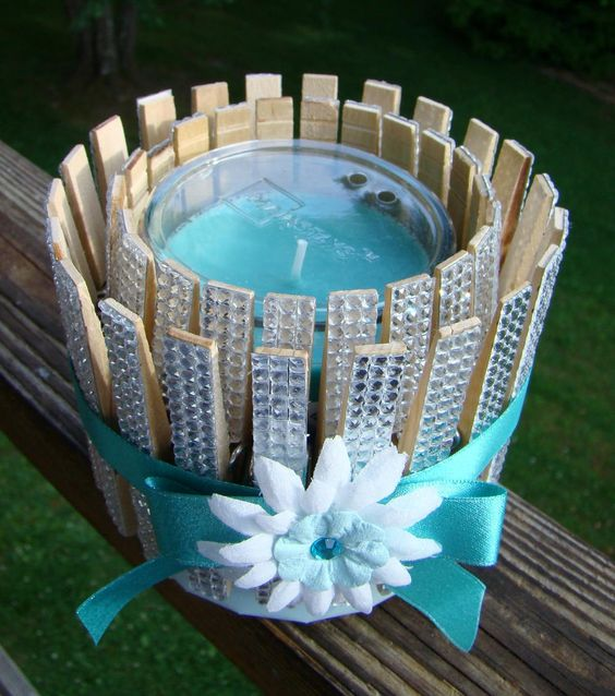 Clothespins and Bling Candle Holder | FaveCrafts.com