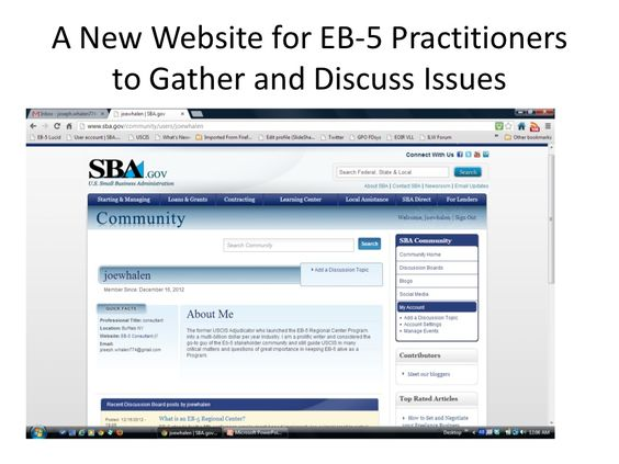 new-website-ffor-eb5-practitioners-to-gather by Joseph  Whalen via Slideshare