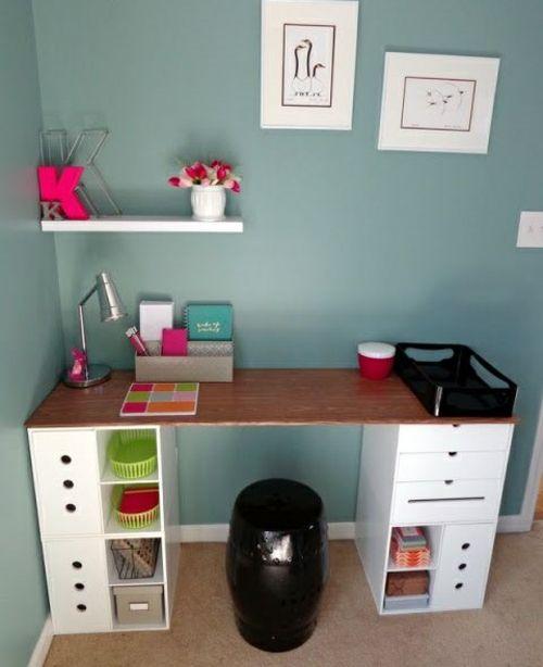 schreibtisch selber bauen bunt holz preisg nstig schubladen tipps pinterest. Black Bedroom Furniture Sets. Home Design Ideas