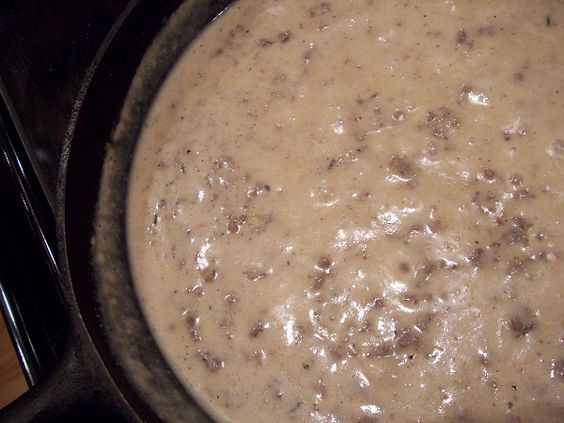 Sausage Gravy from Scratch  I make this and never use garlic or onion powder. Use grease from sausage or bacon. Only use the amount of sausage you desire.