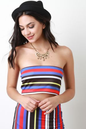 Candy Striped Tube Top. Description This tube  top  features a hidden elasticized neckline, crop hemline, colorful horizontal stripe print, and fully lined. Accessories sold separately. Made in U.S.A. 96% Polyester, 4% Spandex.  Measurement   Size Bust Hem Length   S 13 12 7   M 13.5 13 7.5   L 14.5 14 8